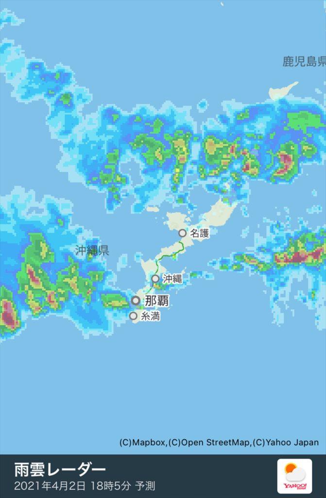 恩納村ヤフー天気雨雲レーダー