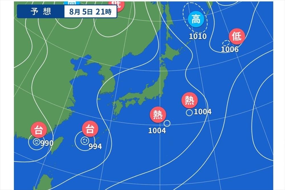 ヤフー天気図|台風9号10号
